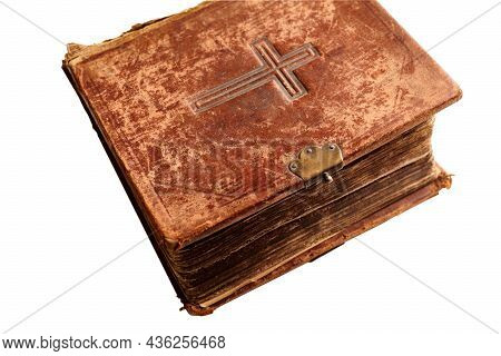 Old Large Worn Bible On White Background.