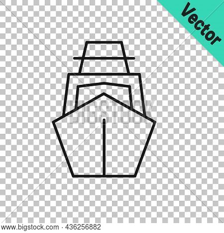 Black Line Yacht Sailboat Or Sailing Ship Icon Isolated On Transparent Background. Sail Boat Marine