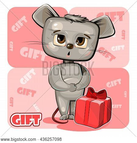 Little Baby Moose Received Gift. Red Box With Ribbon And Bow. He Is Embarrassed To Take. Childrens I