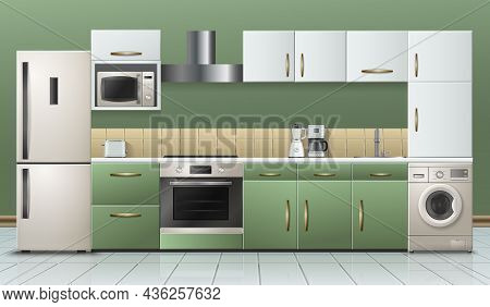 Modern Kitchen Furniture Household Appliances Interior Realistic View With Refrigerator Stove Microw