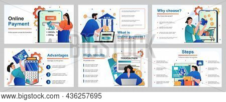 Online Payment Concept For Presentation Slide Template. People Paying For Purchases With Credit Card