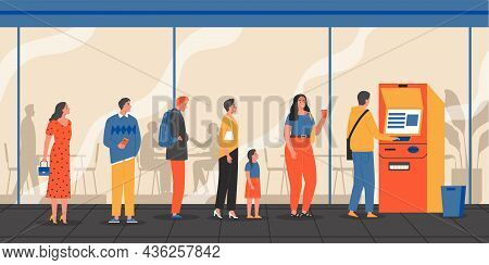 Queue Atm Composition With Outdoor View Of People Standing In Line To Atm Machine For Withdrawal Vec