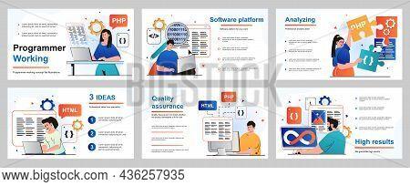 Programmer Working Concept For Presentation Slide Template. Developers Program In Different Programm