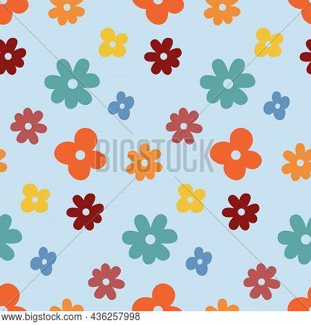 Seamless Pattern, Yellow Orange Red Flower, Simple Childish Design Vector Illustration