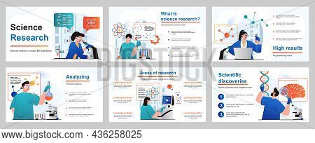 Science Research Concept For Presentation Slide Template. People Scientists Make Tests And Experimen