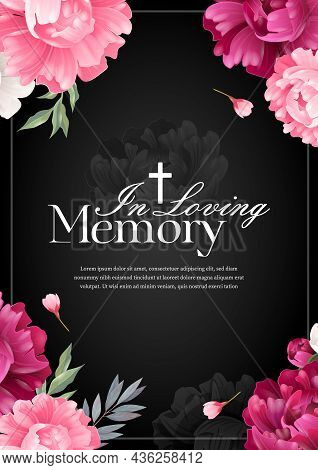 Vertical In Loving Memory Mourning Card With Colored Flowers On Black Background Realistic Vector Il