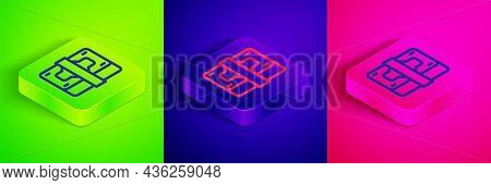 Isometric Line Stacks Paper Money Cash Icon Isolated On Green, Blue And Pink Background. Money Bankn