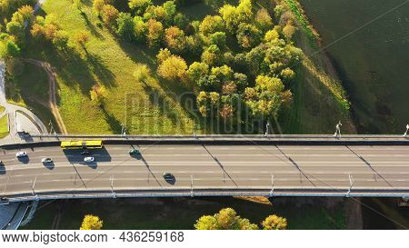 Mahiliou, Belarus. Aerial View Of Bridge Over The Dnieper River In Mogilev. Aerial View Of Skyline I