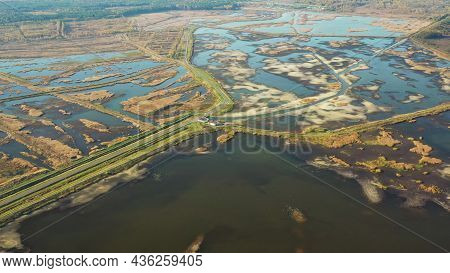 Belarus. Aerial View Of Ponds Autumn Landscape. Ponds Of Fisheries In The South Of Belarus. Top View