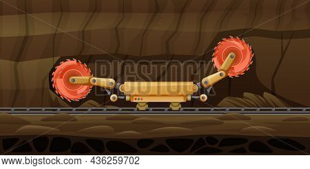 Mining Miner Cartoon Composition With Subsurface Scenery And Automated Grinder On Rail Rotating Whee