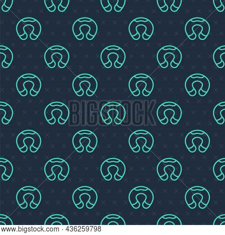 Green Line Travel Neck Pillow Icon Isolated Seamless Pattern On Blue Background. Pillow U-shaped. Ve