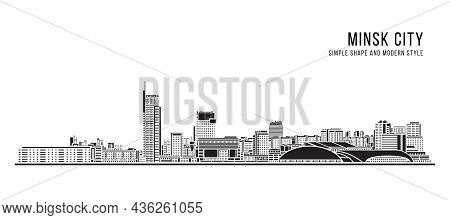 Cityscape Building Abstract Simple Shape And Modern Style Art Vector Design - Minsk City