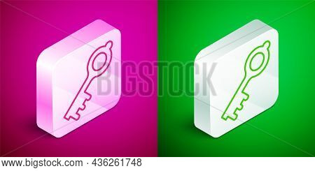 Isometric Line Old Magic Key Icon Isolated On Pink And Green Background. Silver Square Button. Vecto