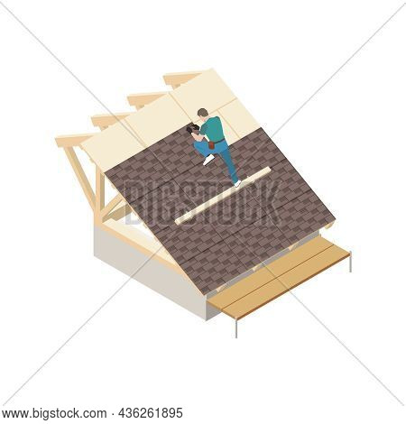 Isometric Professional Roofer Working On Roof Of Unfinished Building 3d Vector Illustration