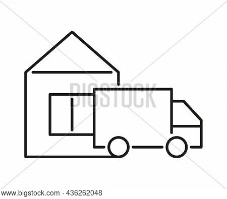 Home Delivery Van Icon. Truck Send Order To House. Vector Illustration