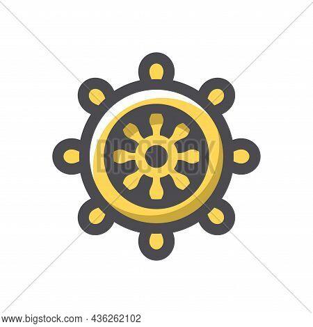 Gold Ship Wheel Vector Icon Cartoon Illustration