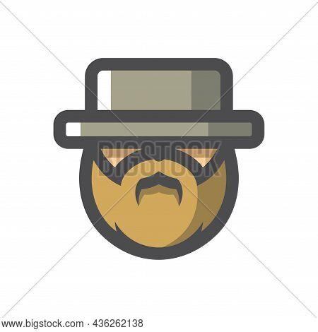 Jewish Men Head Vector Icon Cartoon Illustration