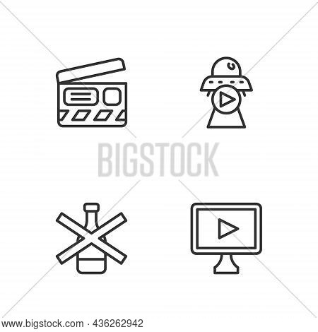 Set Line Online Play Video, No Alcohol, Movie Clapper And Science Fiction Icon. Vector