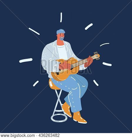 Vector Illustration Of Man Playing Guitar. Guitar Player Singing Song And Playing An Acoustic Guitar