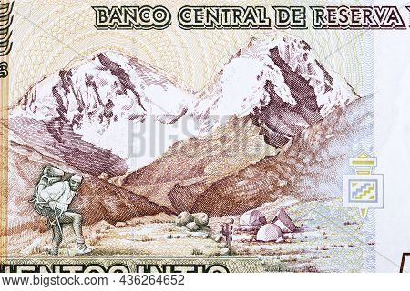 Huascarán Mountain In The Peruvian Andes From Money