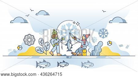 Ice Fishing Hobby As Catching Fish In Seasonal Winter Time Outline Concept. Sitting On Frozen Lake W