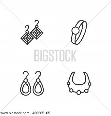 Set Line Necklace, Earrings, And Diamond Engagement Icon. Vector