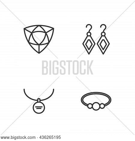 Set Line Bracelet Jewelry, Locket On Necklace, Diamond And Earrings Icon. Vector