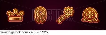Set Line King Crown, Medieval Helmet, Mace With Spikes And Crusade. Glowing Neon Icon. Vector