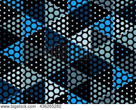 3D Dotted Cubes Seamless Pattern Vector Background, Dots Dimensional Blocks, Architecture And Constr