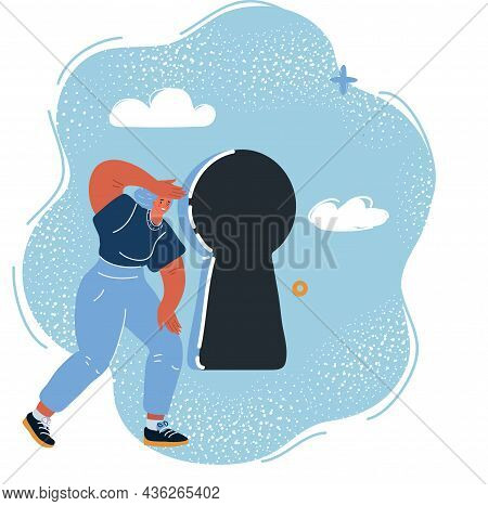Vector Illustration Of Woman Standing In Front Of Keyhole. Female Looks At Open Opportunities.