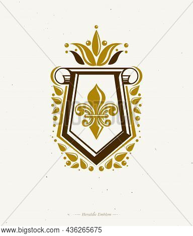 Vintage Heraldic Emblem Created With Lily Flower Royal Symbol. Eco Product Symbol, Organic And Healt
