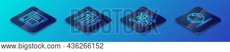 Set Isometric Line Neural Network, Browser Window, Global Technology And Cloud Database Icon. Vector