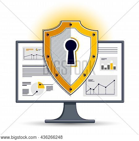 Shield Over Computer Monitor, Private Data Security Concept, Antivirus Or Firewall, Finance Protecti