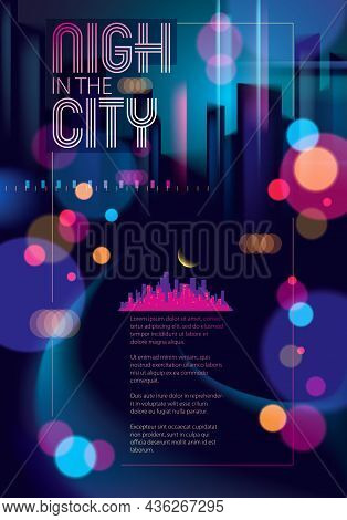 Abstract Urban Night Light Bokeh , Defocused Background. Effect Vector Beautiful Background. Blur Co