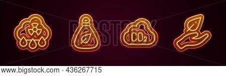 Set Line Acid Rain Radioactive Cloud, Garbage Bag, Co2 Emissions And Leaf Hand. Glowing Neon Icon. V