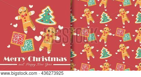Christmas Holiday Season Banner With Merry Christmas Text And Seamless Pattern Of Ginger Bread In Bo