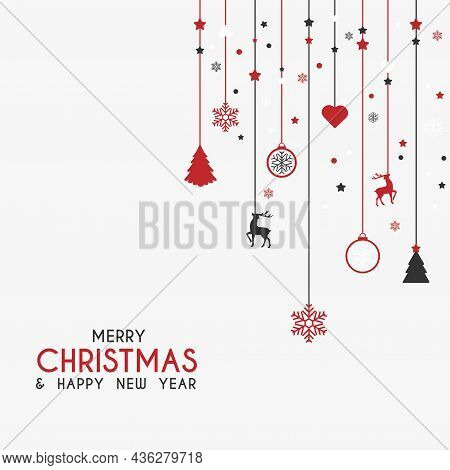 Merry Christmas And Happy New Year. Xmas Background With With Hanging Christmas Toys. Greeting Card,