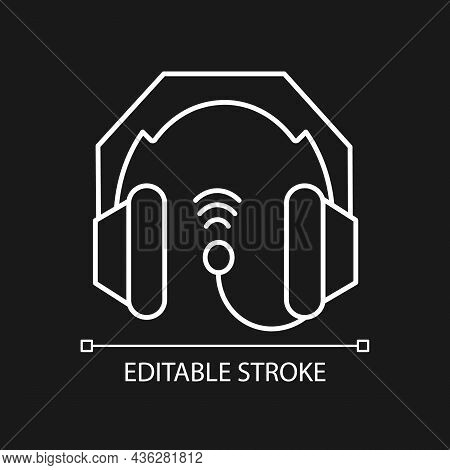 Gaming Headset White Linear Icon For Dark Theme. E Sports Equipment. Headphones Connected To Pc. Thi