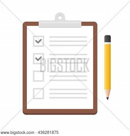 Notepad Checklist Organizer With Pencil Icon. Vector