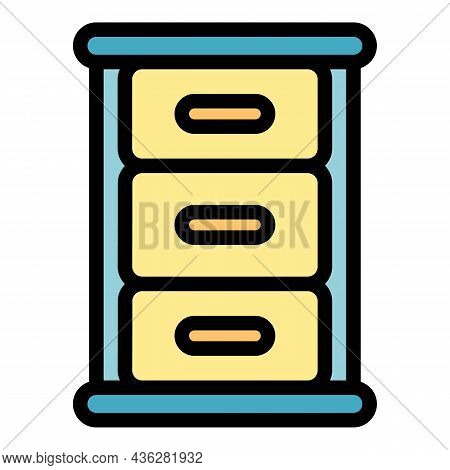 Store Kitchen Cabinet Icon. Outline Store Kitchen Cabinet Vector Icon Color Flat Isolated