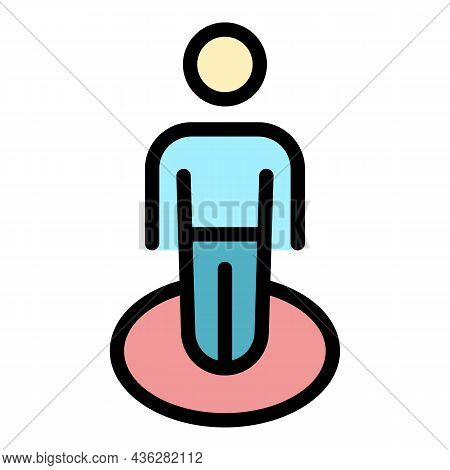 Maintain Social Distance Icon. Outline Maintain Social Distance Vector Icon Color Flat Isolated