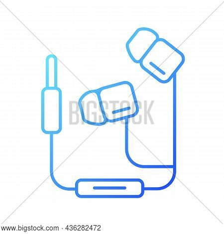 Wired Earphones Gradient Linear Vector Icon. Headphones With Cable. Headset For Listening Music And