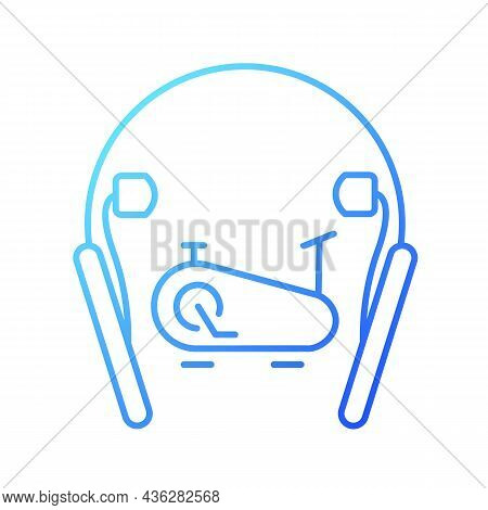 In Ear Neckband Headphones Gradient Linear Vector Icon. Wireless Headset For Active Workouts And Fit
