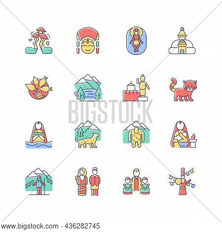 Nepal Cultural Heritage Rgb Color Icons Set. Religious Festivals. Tourist Attractions. Mountaineerin