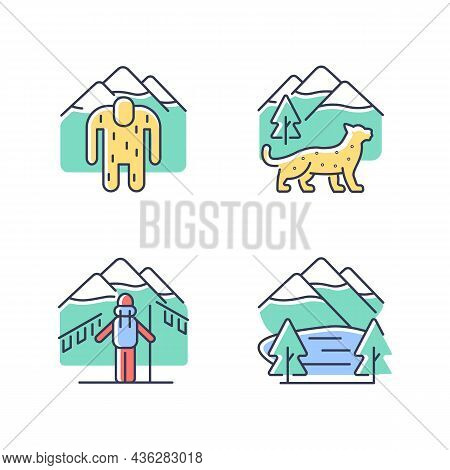Mountaineering In Nepal Rgb Color Icons Set. Trekking Peaks. Himalayan Folklore. Snow Leopard. Shey