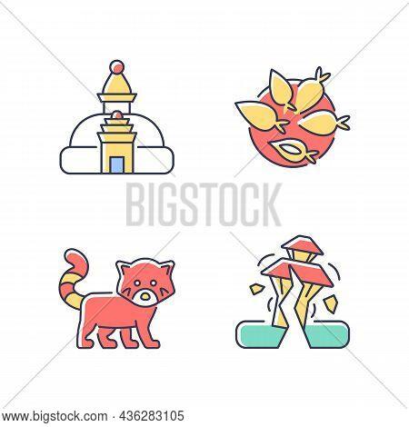 Tourism In Nepal Rgb Color Icons Set. Swayambhu Stupa. Nepalese Cuisine. Red Panda. Earthquake Risk.