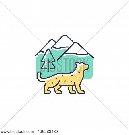 Snow Leopard Rgb Color Icon. Wild Animal Living In Nepal Mountain. Predator Of Himalayan Ecosystem.