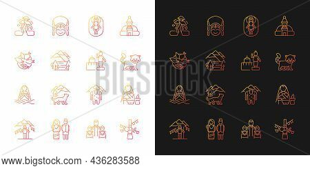 Nepal Cultural Heritage Gradient Icons Set For Dark And Light Mode. Religious Festivals. Thin Line C