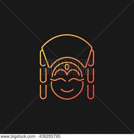 Kumari Gradient Vector Icon For Dark Theme. Living Hindu Goddess Worshipped By Buddhists. Girl In Tr