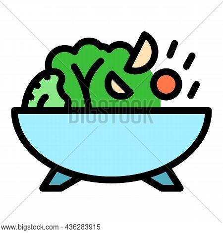 Wok Menu Food Icon. Outline Wok Menu Food Vector Icon Color Flat Isolated